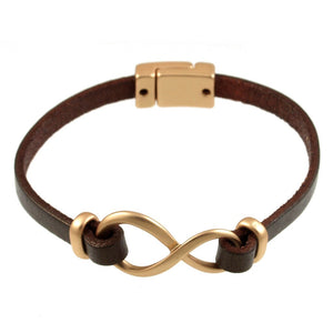 Brown leather infinity Bracelet