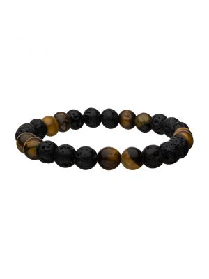 Lava and Yellow Tigers Eye Bead Bracelet