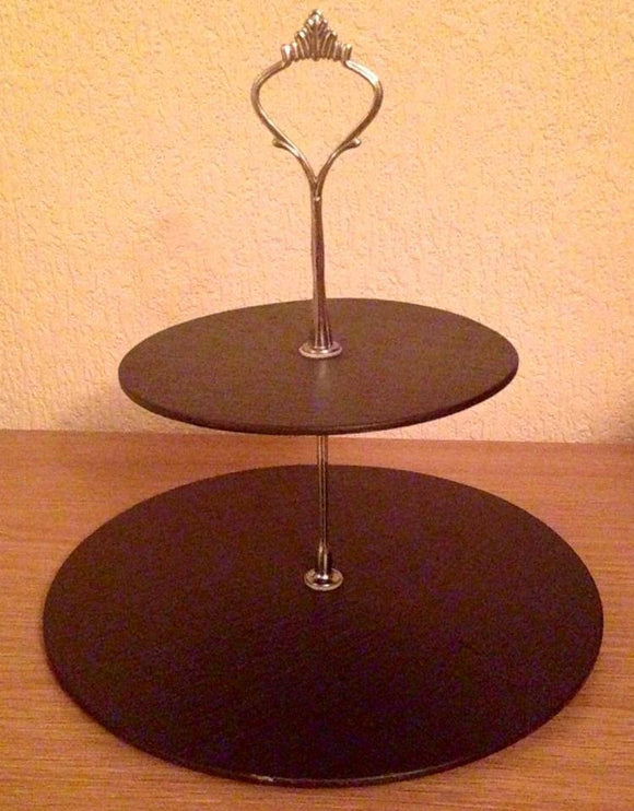 Welsh slate two tier cake stand
