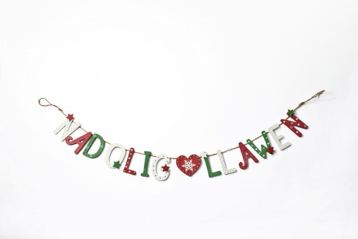 Nadolig Llawen Christmas wooden bunting - green, red & white
