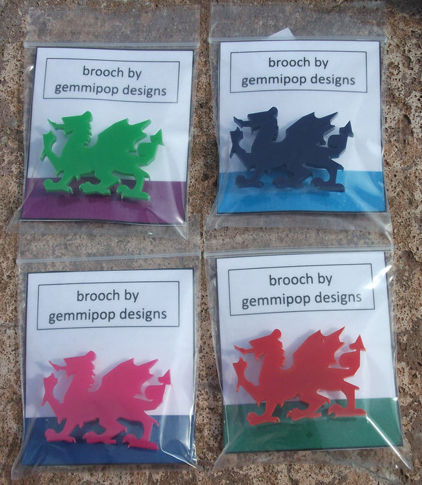 Laser Cut Acrylic Welsh Dragon Brooch