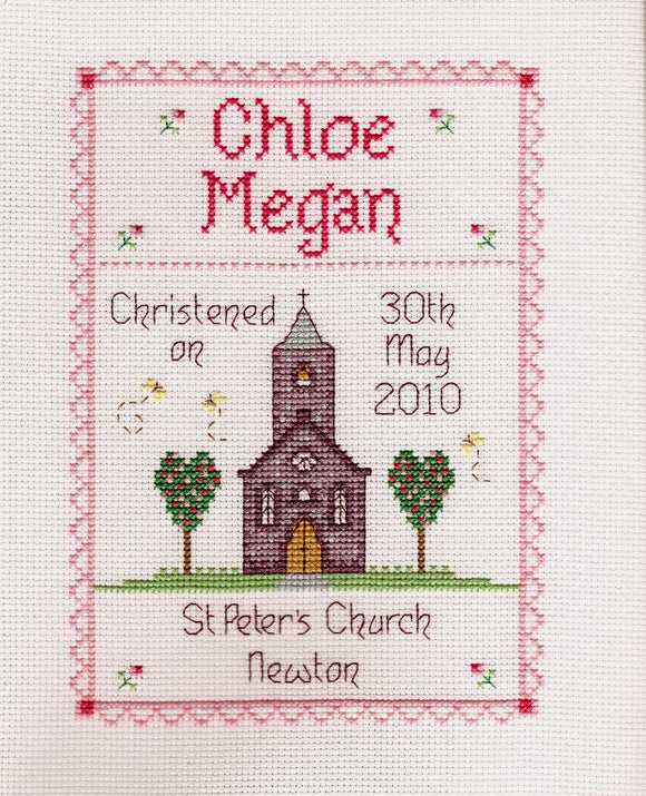 'Bedydd' christening cross stitch chart