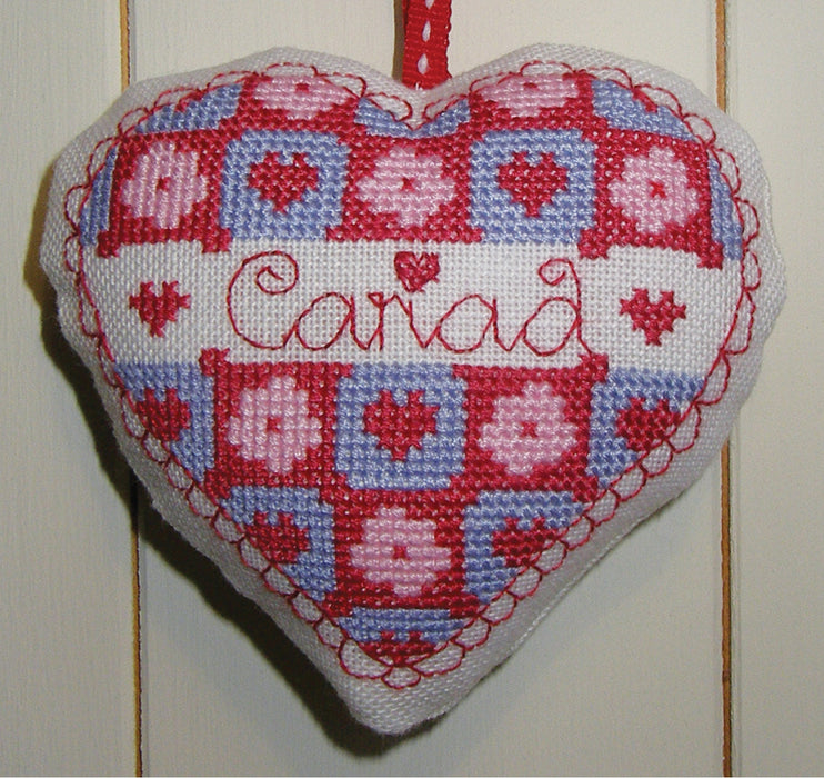 Cariad heart cross stitch chart