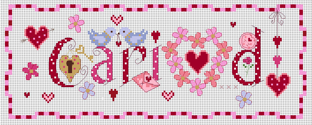 Cariad cross stitch chart