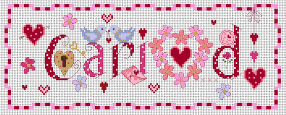 'Cariad' cross stitch chart