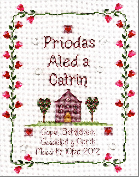 'Priodas' chapel wedding cross stitch kit