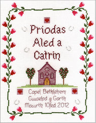 'Priodas' chapel wedding cross stitch chart