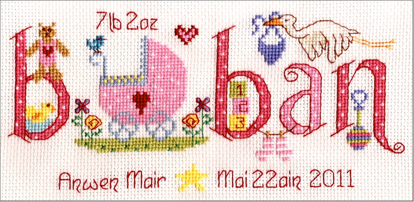 Baban new baby cross stitch chart