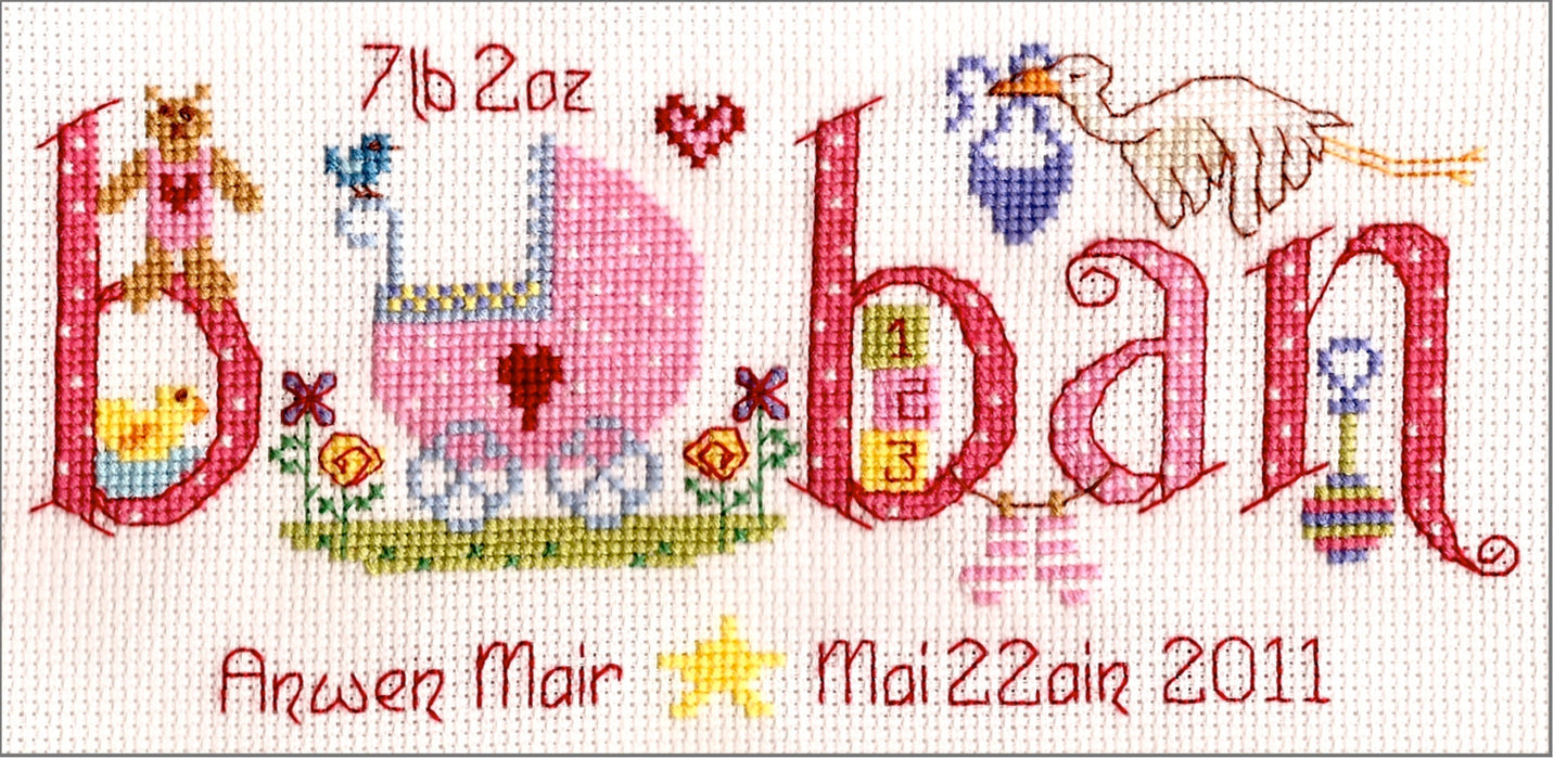 Baban new baby cross stitch kit - girl