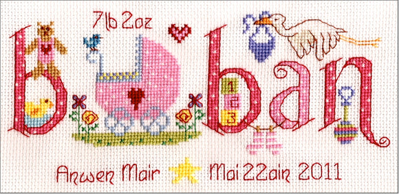 'Baban' new baby cross stitch kit - girl