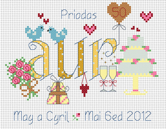 'Priodas Aur' golden anniversary cross stitch chart