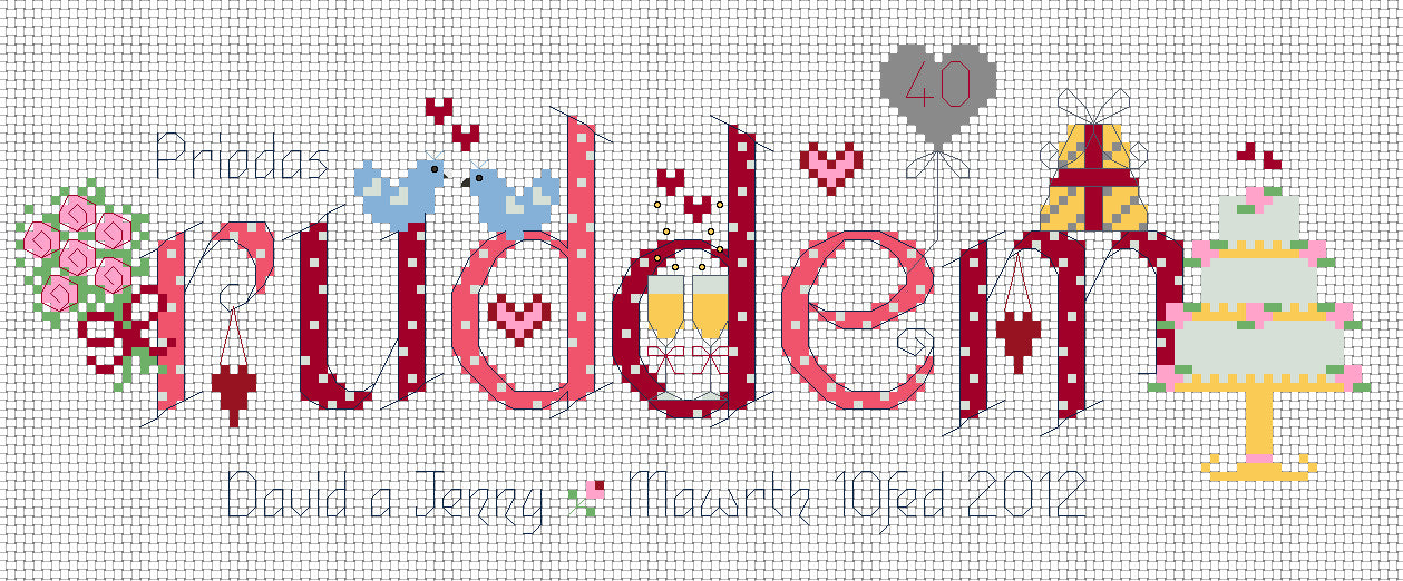 Priodas Ruddem ruby anniversary cross stitch chart