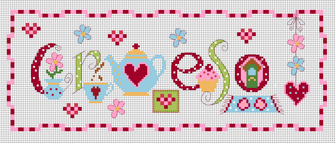 Croeso sampler cross stitch chart