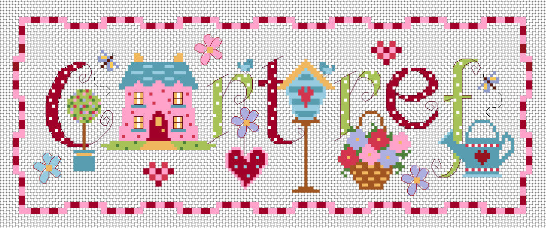 Cartref sampler cross stitch chart