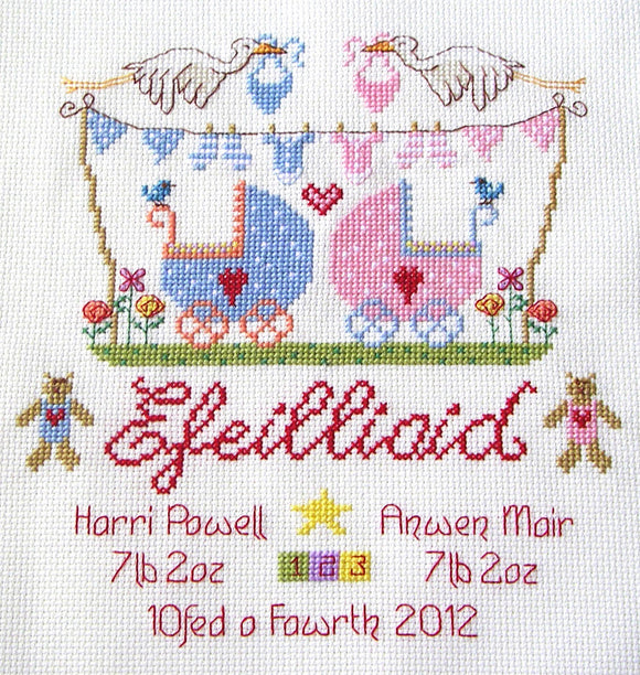 'Efeilliaid' twins cross stitch chart