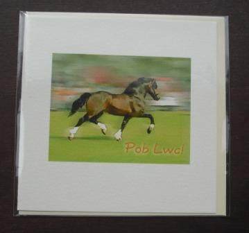 Good luck card 'Pob Lwc' horse