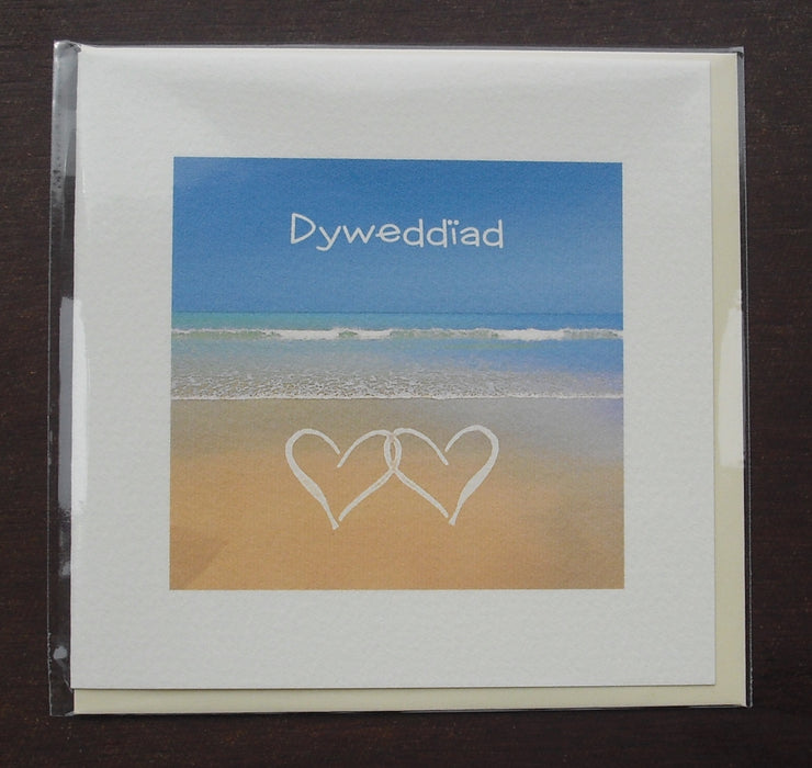 Engagement card 'Dyweddïad' beach