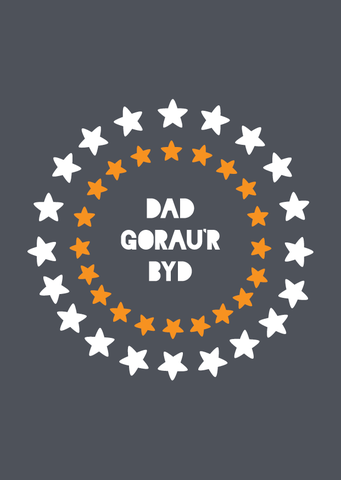Father's day card 'Dad Gorau'r Byd' stars