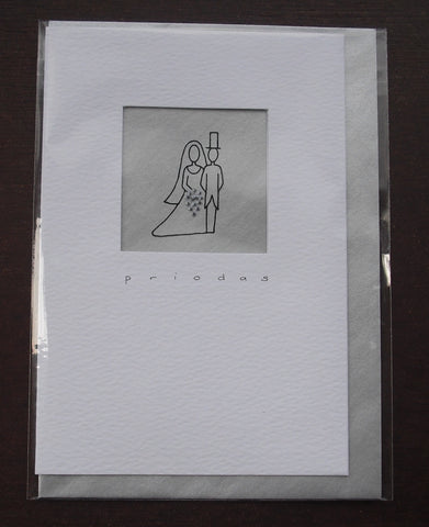 Wedding card 'Priodas' Silver
