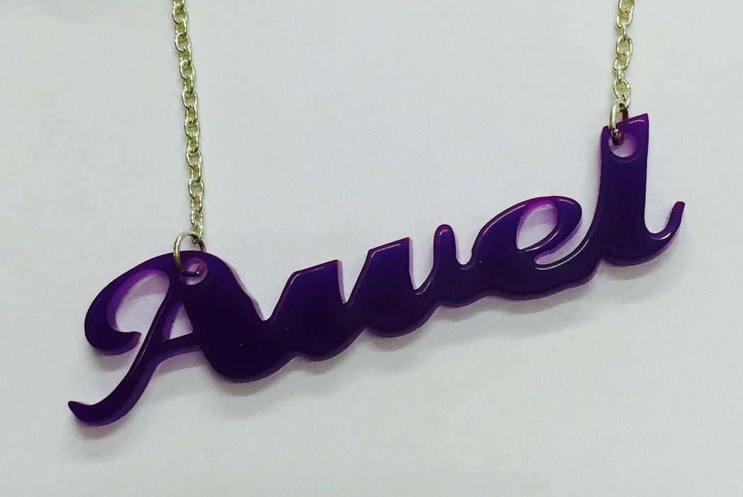 Laser Cut Acrylic Name Necklace - Awel