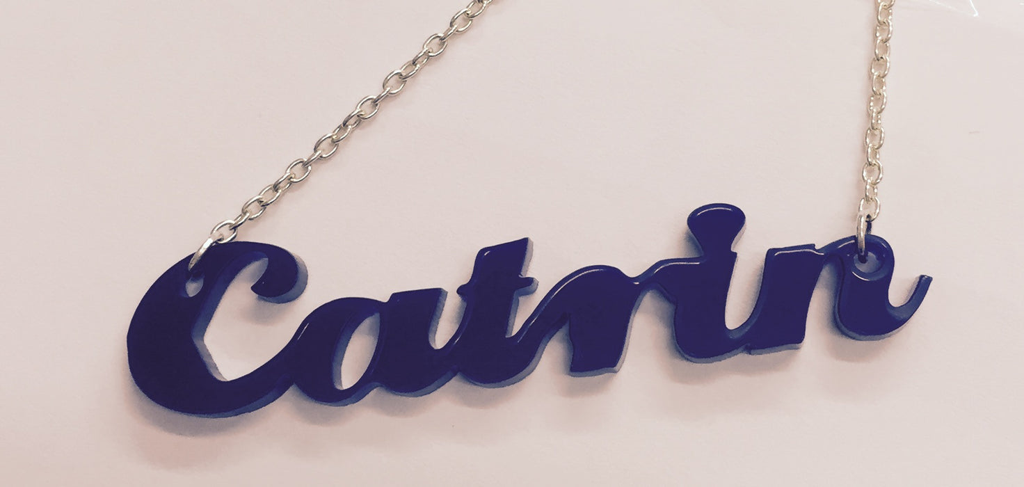 Laser Cut Acrylic Name Necklace - Catrin