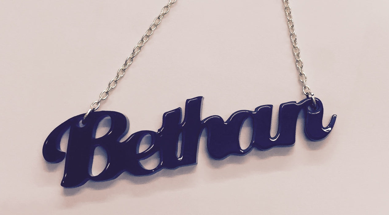 Laser Cut Acrylic Name Necklace - Bethan