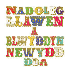 Christmas card 'Nadolig Llawen' circus letters