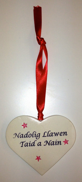 White clay 'Nadolig Llawen' Merry Christmas large heart tag / decoration