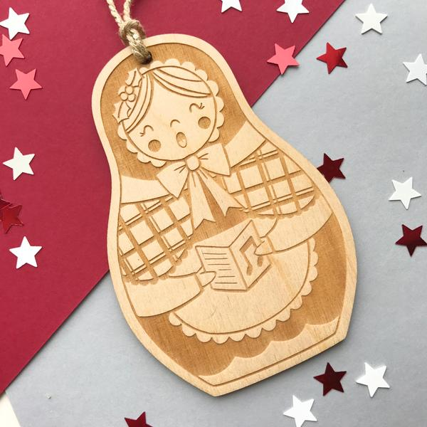 Welsh Doll Laser Cut Wooden Christmas Decoration