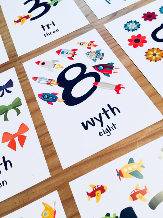 Welsh Alphabet, Numbers and Colours Flash Cards