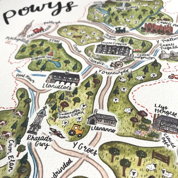 Welsh Powys Illustrated Map Print