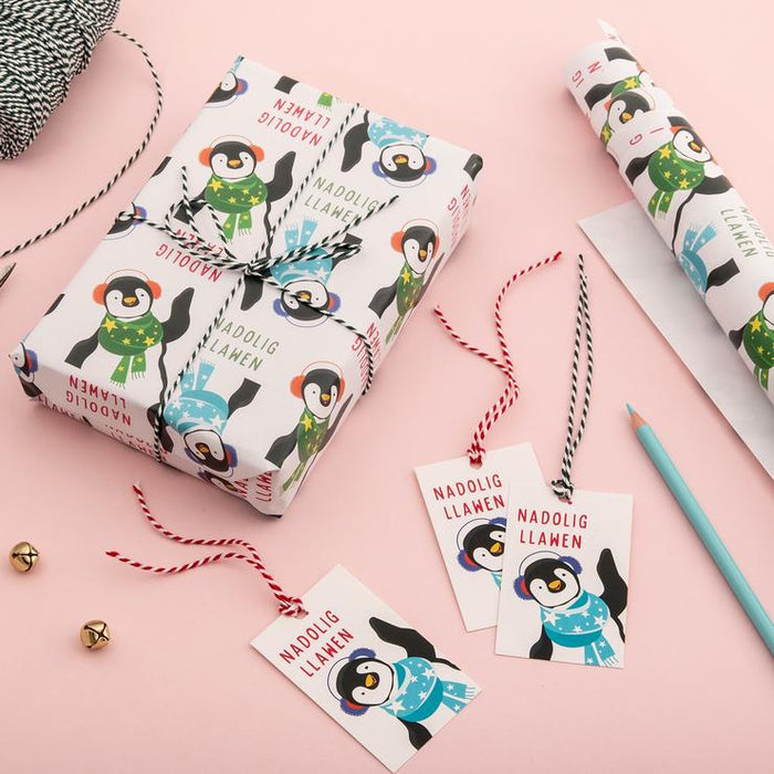 Nadolig Llawen wrapping paper & tags - Penguin
