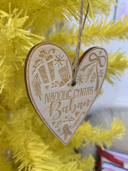 Laser Cut Wooden Christmas Decoration - Nadolig Cynta'r Baban