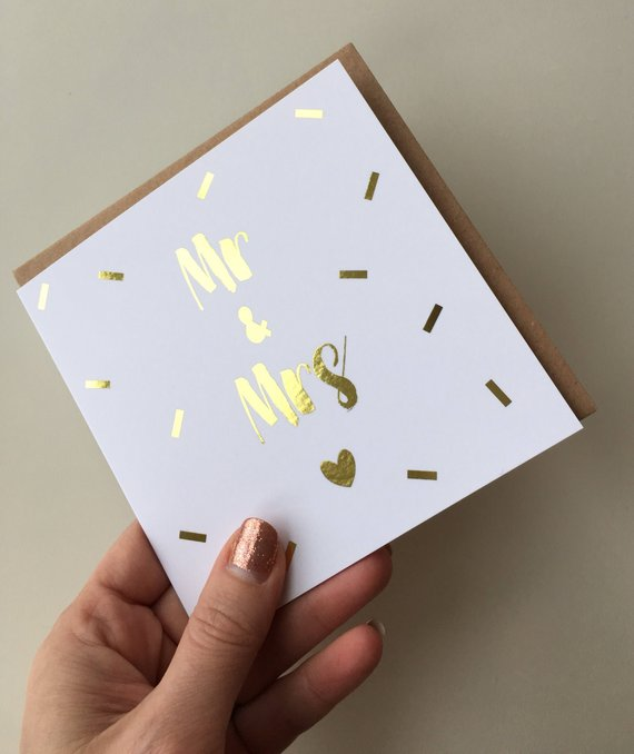 Wedding card 'Mr & Mrs' gold foil