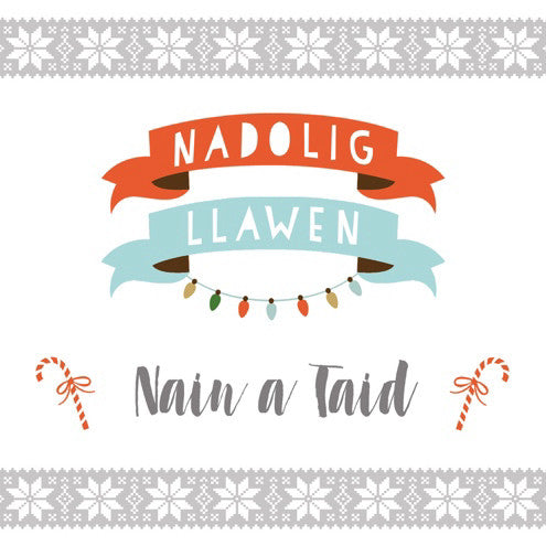 Christmas card 'Nadolig Llawen Nain a Taid' grandparents