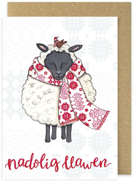 Christmas card 'Nadolig Llawen' - Sheep