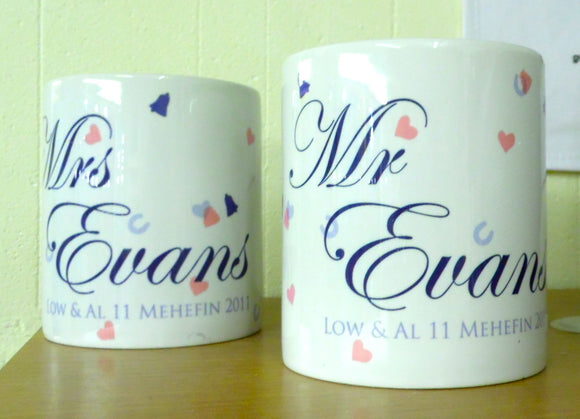 Set of 2 Personalised Wedding mugs