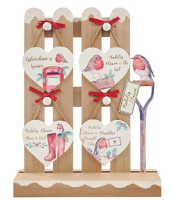 Christmas robin hanging heart decorations