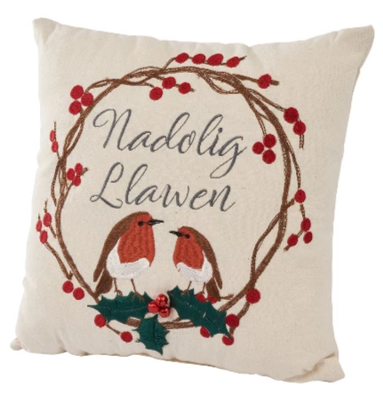 'Nadolig Llawen' Christmas cushion - robins and holly