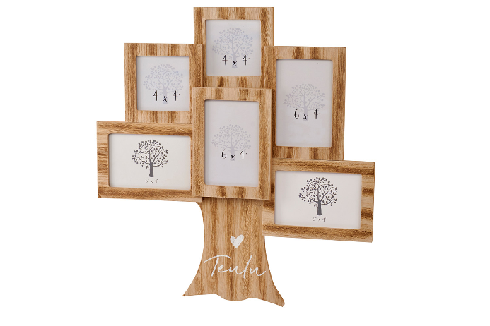 Wooden 'Teulu' family tree multi-frame