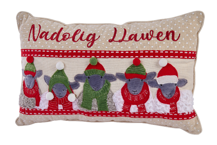 Nadolig Llawen Christmas Sheep Cushion