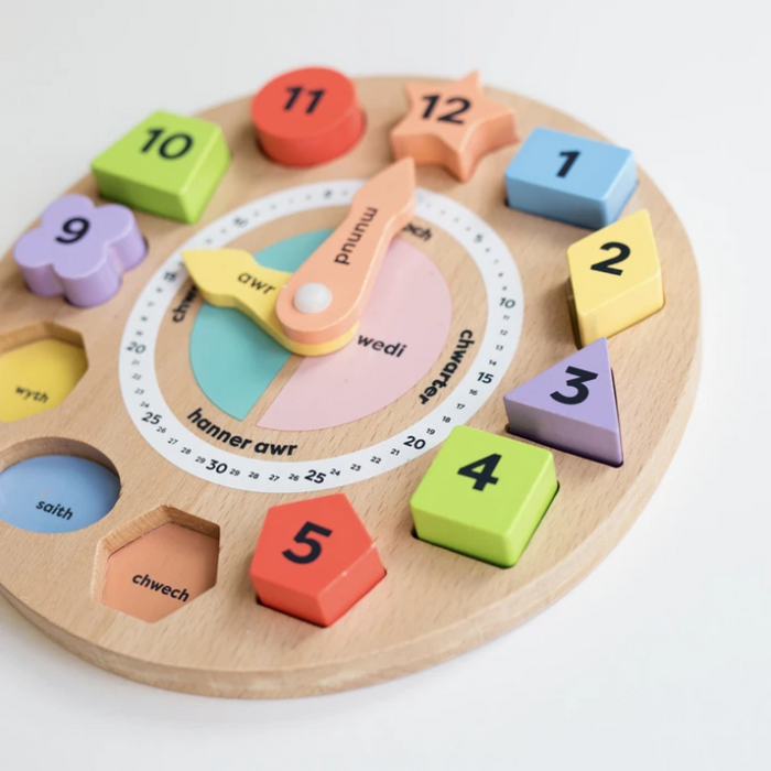 Welsh Wooden Teaching Clock
