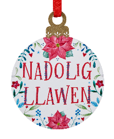 Nadolig Llawen Wooden Painted Bauble