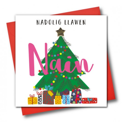 Christmas Card ' Nadolig Llawen, Nain' Happy Christmas Grandma,