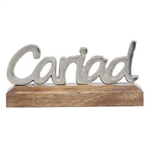 Silver metal 'Cariad' on wooden base decoration