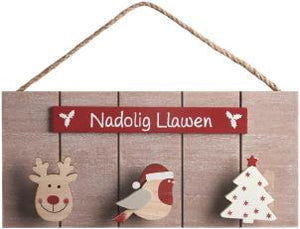 'Nadolig Llawen' triple peg Christmas sign