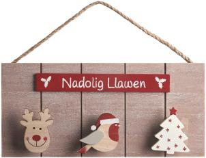 Nadolig Llawen triple peg Christmas sign