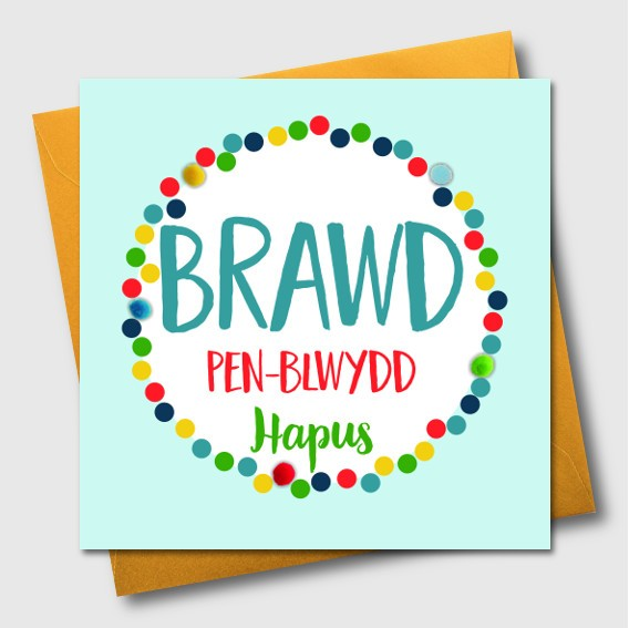 Birthday card - Brawd Pen-blwydd Hapus - Brother - Pompoms
