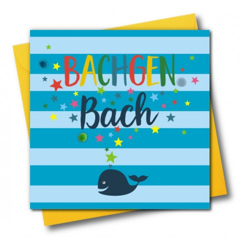 New Baby Card - Bachgen Bach - Pompoms - Whale
