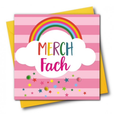 New baby card - Merch Fach - Rainbow - Pompoms